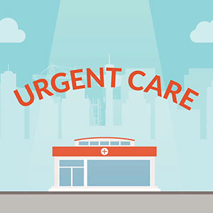 An illustration of an urgent care center on a nice day.