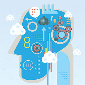 A series of illustrated cogs, wheels, clouds, and arrows inside the drawing of a head symbolizes the various thoughts generated by stress or anxiety.